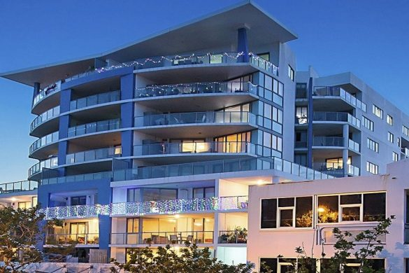 Scarborough_beach_resort_moreton_bay_region_Front_View_of_Resort_Nightfall